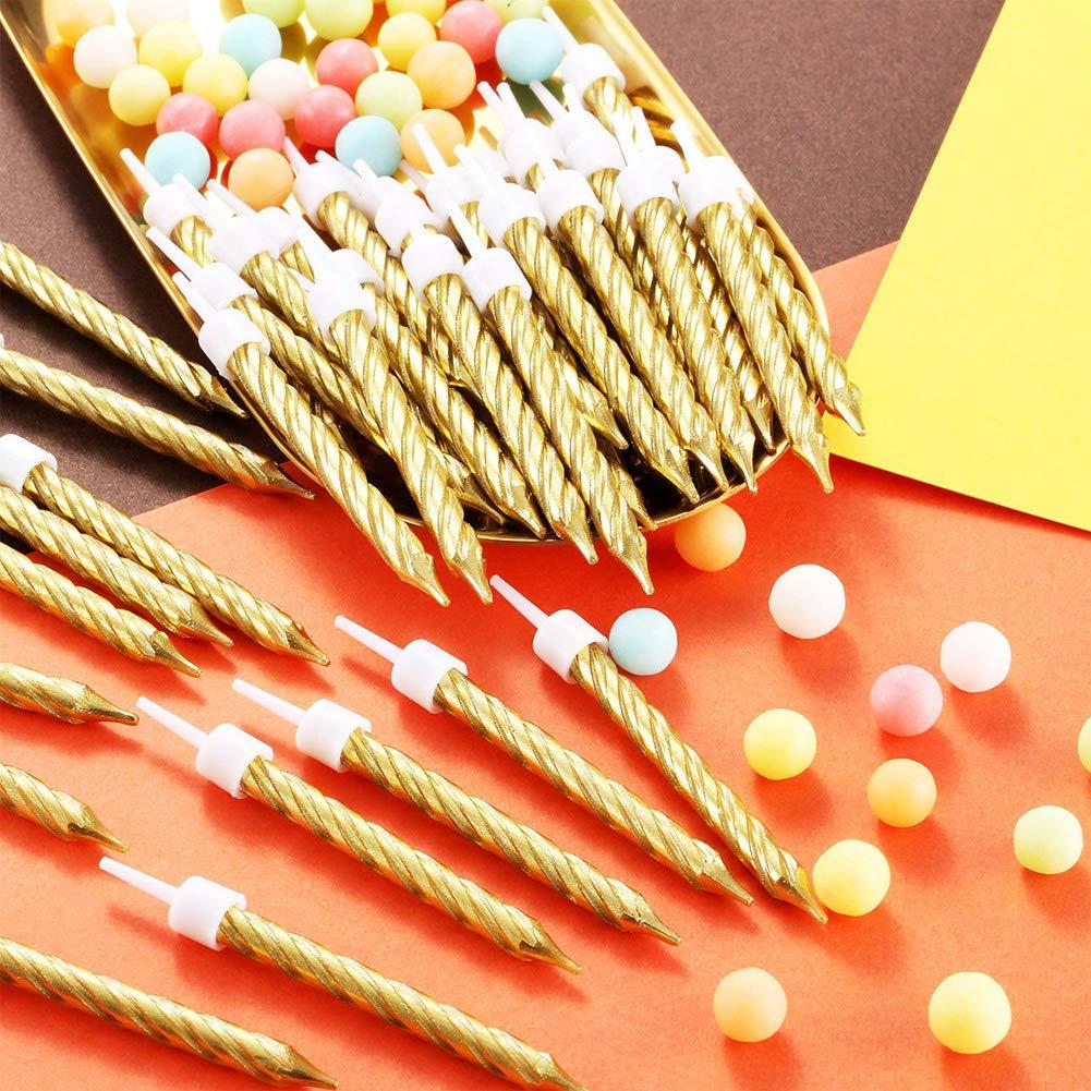 Yozhanhua Lot de 50 Bougies /à g/âteau en m/étal pour d/écoration de g/âteau danniversaire dor/é de Mariage ou de g/âteau