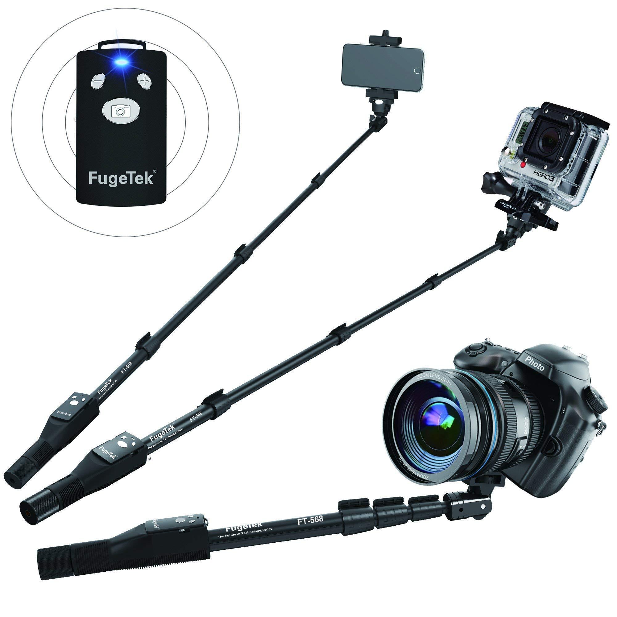 Fugetek FT-568 Professional High End Selfie Stick Monopod, For Apple, Android, Gopro, DLSR Cameras, Removable Wireless Bluetooth Remote (Black) (Certified Refurbished)