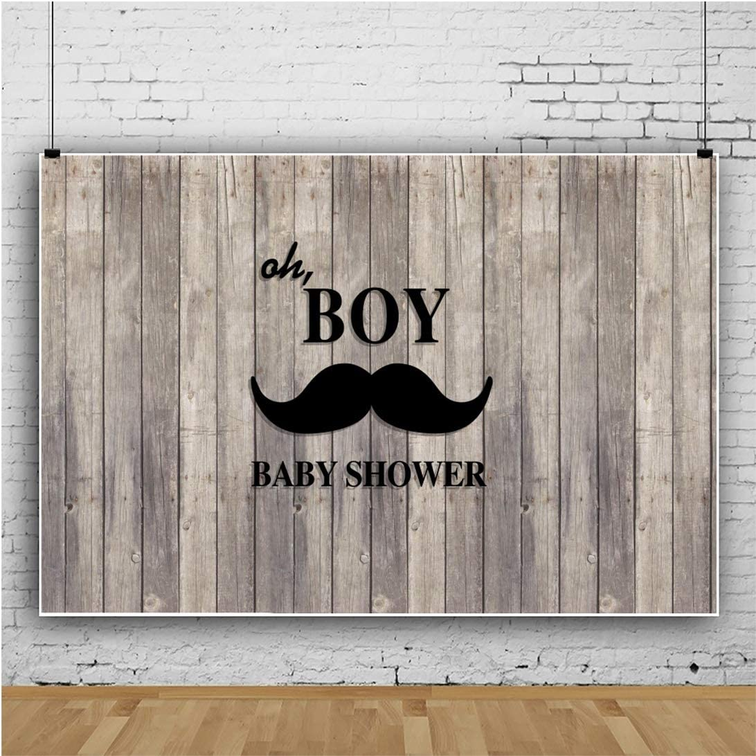 YongFoto 12x8ft Rural Baby Shower Backdrop Vintage Wood Planks Board Wooden Wall Mustache Little Boy Welcoming Photography Background Home Celebration Party Decor Banner Photo Studio Prop Photobooth