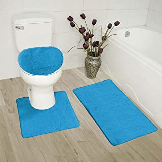 Luxury Home Collection 3 Piece Bath Rug Solid Set Non-Slip Bathroom Rug Contour, Mat and Toilet Lid Cover Black