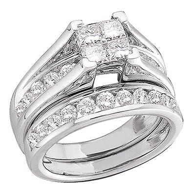 8c2c4c367 10K White Gold Princess and Round Cut Diamond Bridal Engagement Ring and Matching  Wedding Band Two 2 Ring Set - Bridge Setting Invisible Set Square Princess  ...