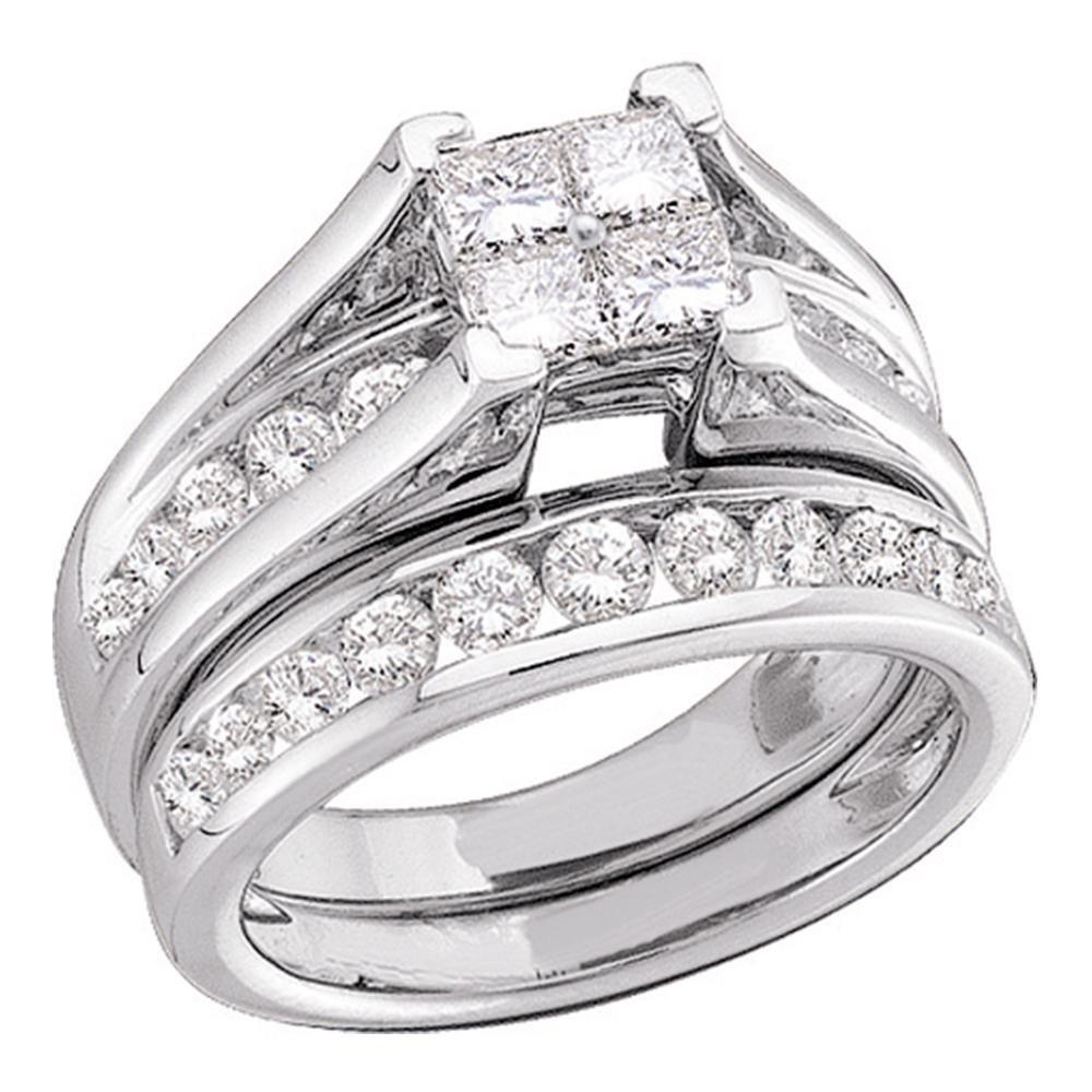 10k White Gold Princess Diamond Engagement Ring & Wedding Band Bridal Set Invisible Style Cluster 1/2 ctw Size 9