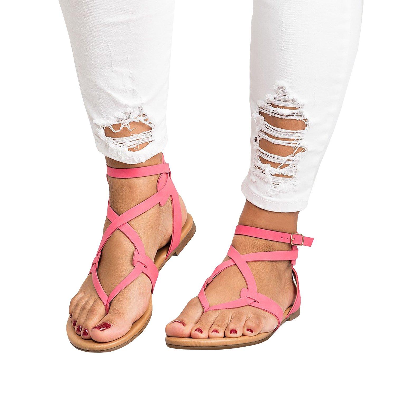 Damen Flip Flops Schnalle Sommer Strand Wohnung Gladiator Sandalen Kreuz und Quer mit Heels  40 EU|Rosa