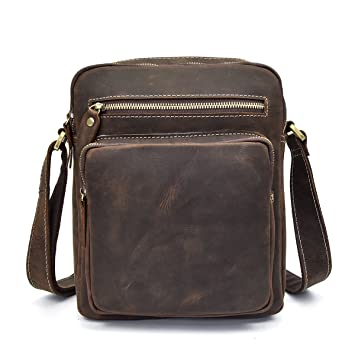60f4b7dfa Bolso Cruzado del Cuero Genuino de los Hombres, Bolso de Hombro Messenger  Mochila para los Libros Kindle iPad Tablet (Brown): Amazon.es: Equipaje