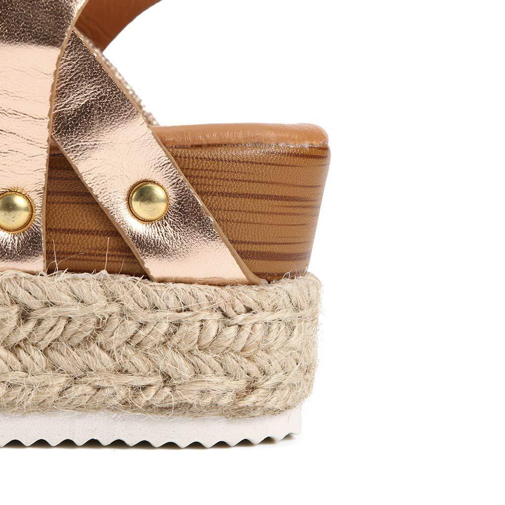 SSYUNO Womens Platform Sandals Espadrille Wedge Ankle Strap Studded Open Toe Sandals Peep Toe Beach Travel Flat Shoes