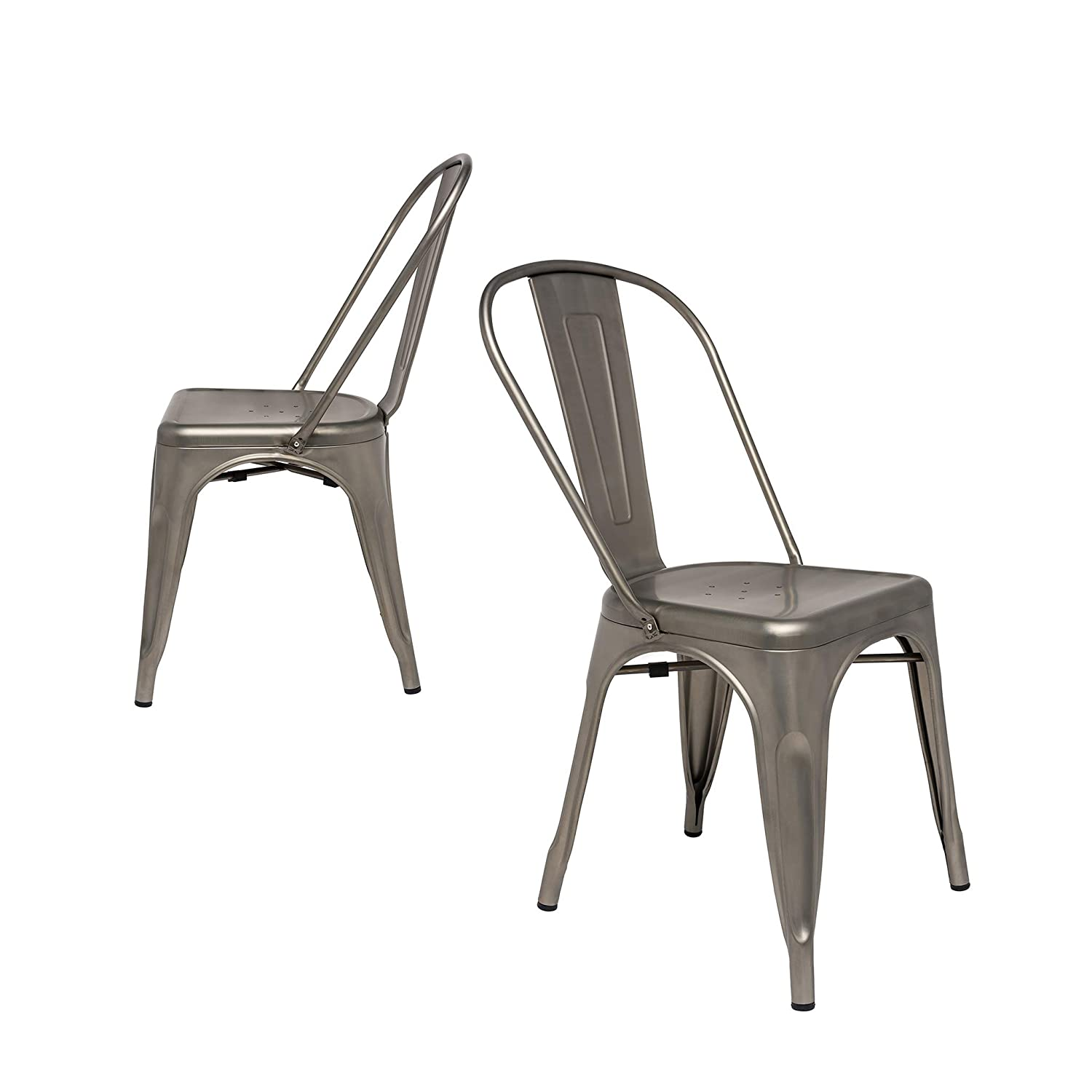 Steampunk Tolix Replica Chairs Set of 2 Side Chair, Gunmetal