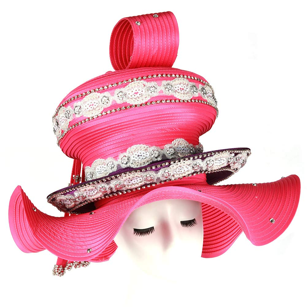 Koola Golden Women Church Hat Kentucky Derby Big Wide Brim Wedding Hat Tea Party Cap (Rose)