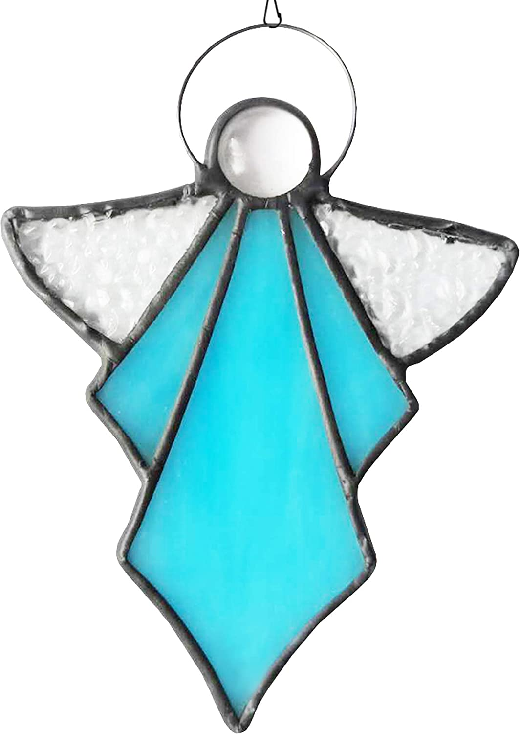 HAOSUM Angel Ornament Stained Glass Angel Stained Glass Window Hangings Ornament Holiday Decor Memorial Remembrance Sympathy Gifts,Angel Gifts for Women(Blue) 5.5