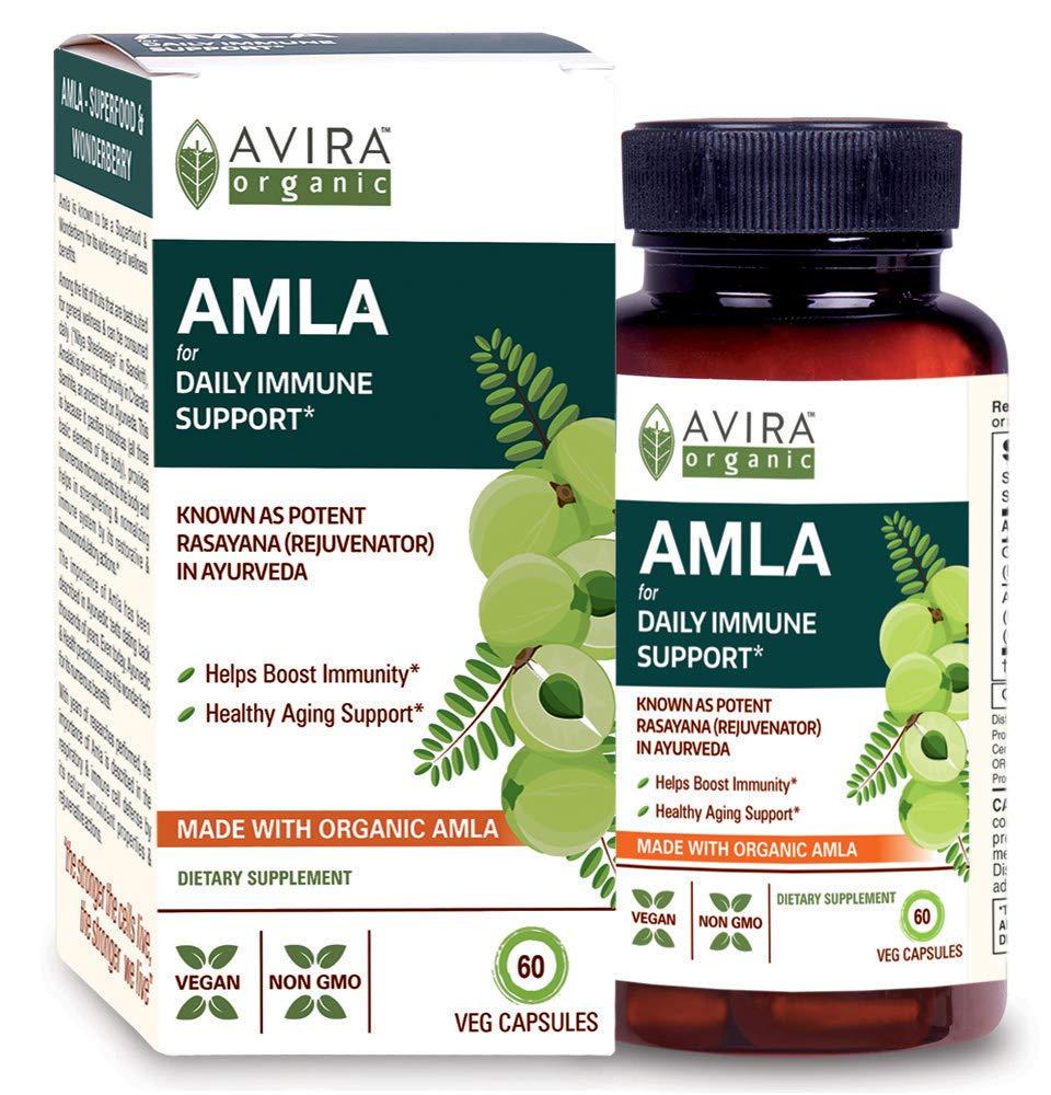 Avira Organic Amla for Immune Support - Max Strength 1300mg Serving per Day, Amla Rich in Vitamin C Complex, Rejuvenator - Daily Care, Non GMO, Made with AML5HS - Full Spectrum Extract - 60 Veg Caps