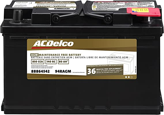 ACDelco Gold 94RAGM 36 Month Warranty AGM BCI Group 94R Battery