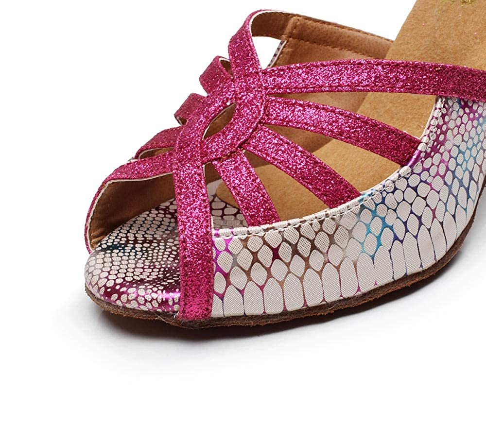 JINGXINSTORE Womens Cross Strap Ballroom Modern Latin Dance Shoes Evening Wedding Shoes