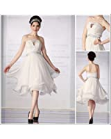 Strapless Knee-length Elastic Satin Gown with Appique Decorated, Wedding Dress, Bridal Gown, 38869 S