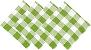 Buffalo Gingham Check Indoor/Outdoor Casual Cotton Tablecloth, Buffalo Plaid 100% Cotton Weave Kitchen, Patio and Dining Room Tablecloths and Napkins (Napkin Set of 4, Apple Green)
