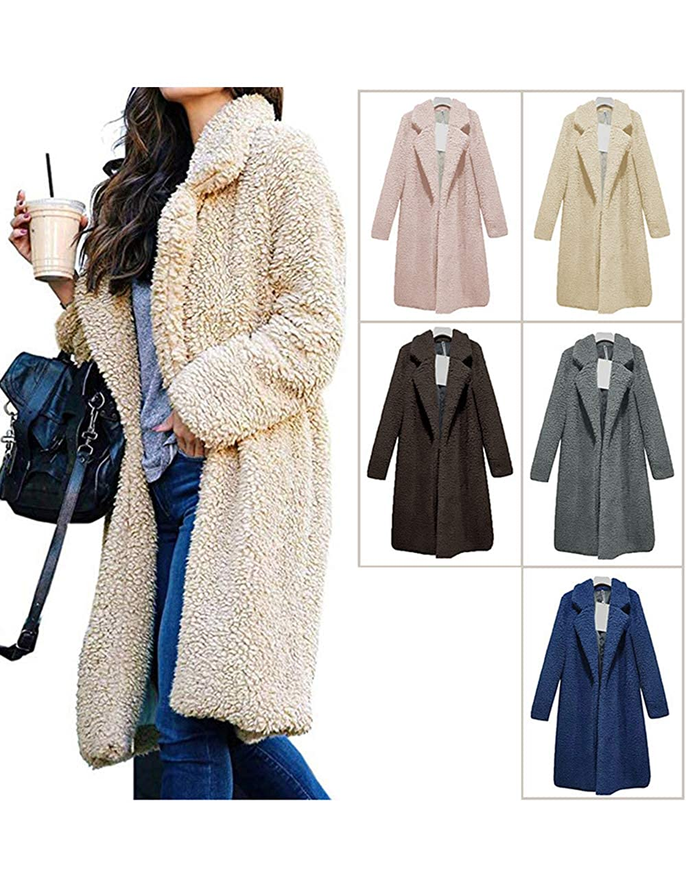Amazon.com: BESBOMIG Fuzzy Cardigan Shaggy Jacket - Chaqueta ...