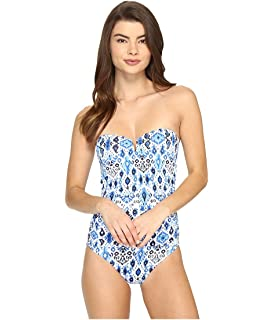 4dfa25d2f85f6 Tommy Bahama Womens Nylon Floral Print One-Piece Swimsuit Blue 10 at ...