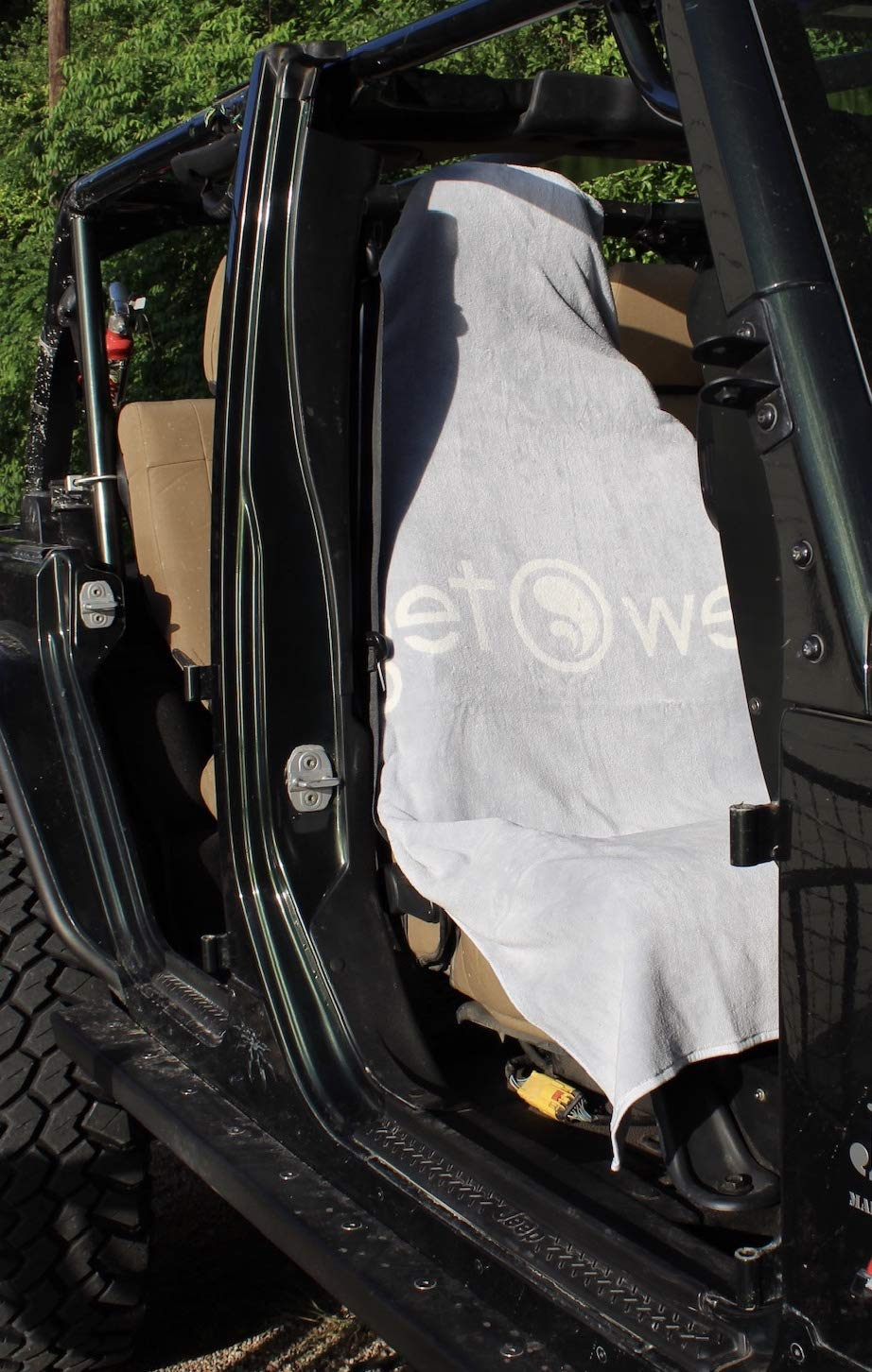Premium Car Seat Wrap and Towel with Hood Cinch by Tew Teg | Protect Your Seats After The Gym, Runs, Swimming, Biking, Yoga, Surfing & Beach Trips | Hand-Sewn in The USA (Large, Silver & Cream)