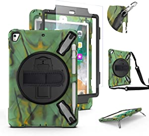 iPad Air 2 Case for Kids | TSQ 6th Generation iPad Case Shockproof Heavy Duty Rugged Anti-Impact Defender Case | 9.7 Inch iPad Case with Pencil Holder/ 360 Turntable Kickstand Shoulder Strap | Camo