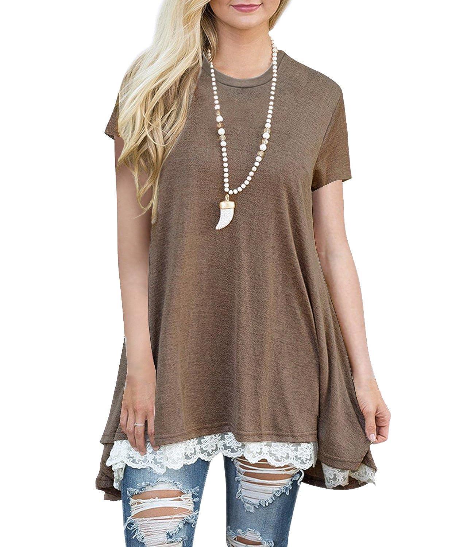 Kool Classic Women's Lace Short Sleeve Tunic Shirts Short Blouses Tops