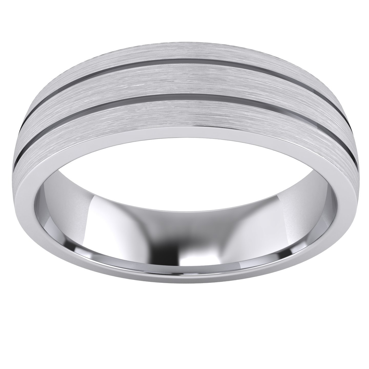 Heavy Solid Sterling Silver 6mm Unisex Wedding Band Comfort Fit Domed Ring Two Grooves Brushed Surface (11.5) by LANDA JEWEL (Image #2)