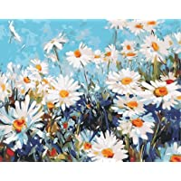Paint by Numbers-DIY Digital Canvas Oil Painting Adults Kids Paint by Number Kits Home Decorations- Daisies 16 * 20 inch