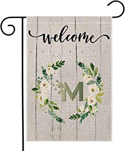 ZYAWP Welcome Garden Flag with Letter M, Double Sided Small Garden Flag Vertical Wreath Burlap Flag for Outdoor Party Yard Home Decor 12.5 x 18 Inches (Garden Size-12.5x18)