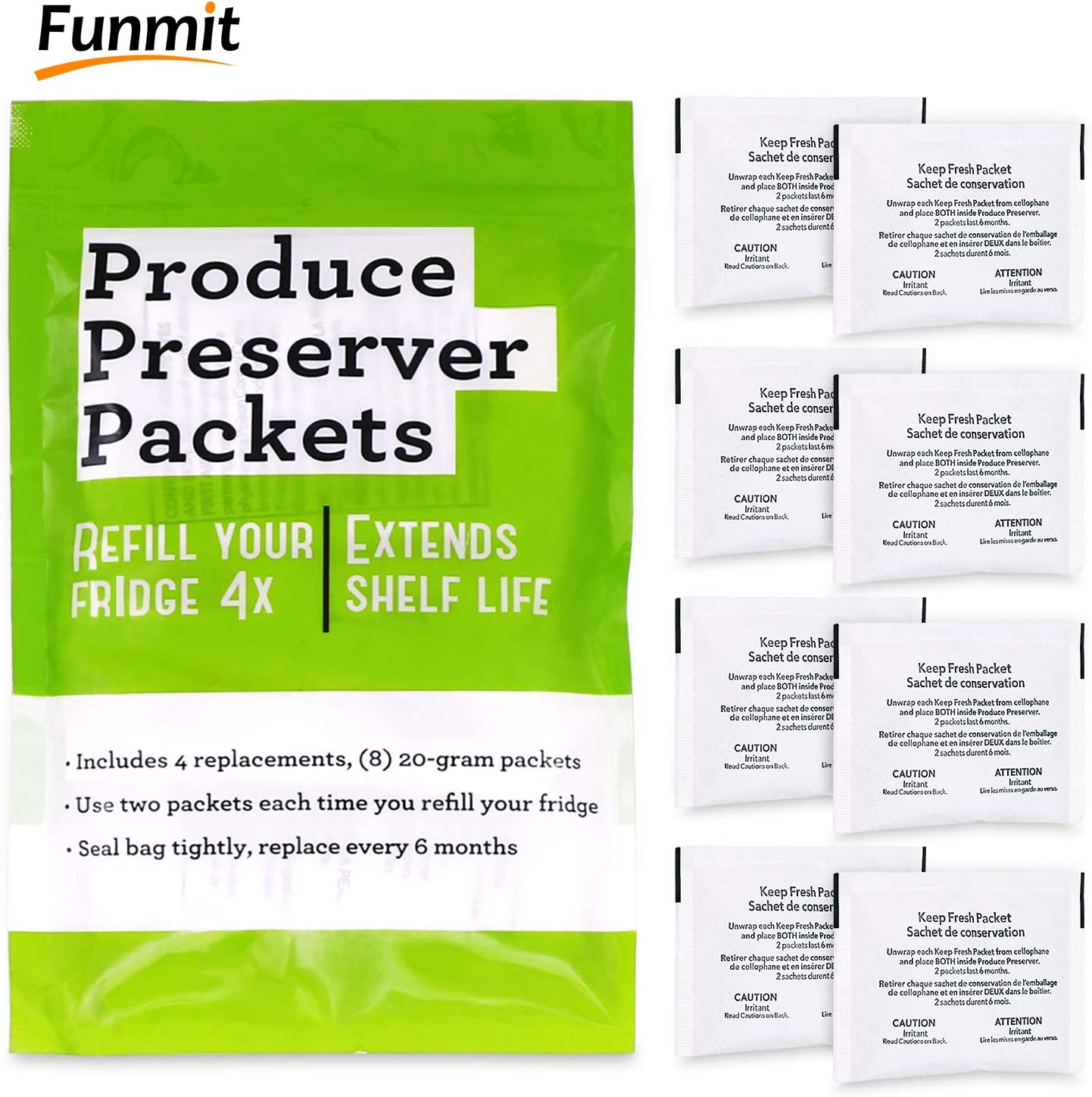 Funmit W10346771A Freshflow Produce Preserver Packets (8 Pouches-4 Pack) Replacement for Whirlpool Refrigerator 2117689,AH3503014,W10335145A