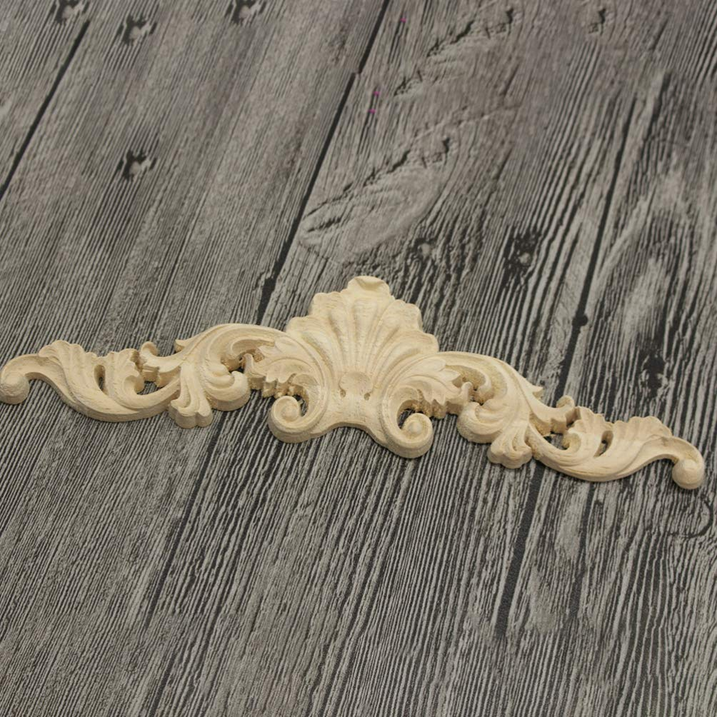 HEALLILY 2 piezas de madera tallada apliques onlay apliques de flores sin pintar para diy artesan/ía puerta muebles para el hogar decoraci/ón m