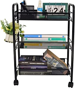 Ovicar Mesh Utility Cart, Rolling Basket Stand for Kitchen & Bathroom, Full Metal Storage Art Trolley Carts with Wheels & 4 Side Hooks (3 Tier, Black)