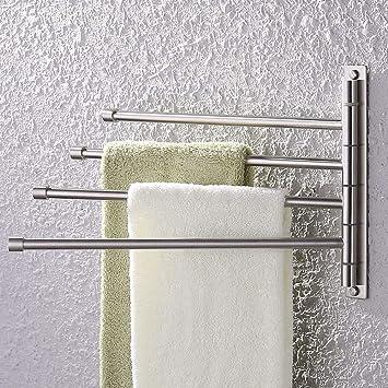d5b663910 KES Swivel Towel Bar SUS 304 Stainless Steel 4-Arm Bathroom Swing Hanger  Towel Rack