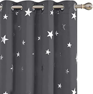 Deconovo Blackout Curtains Silver Star Print Solid Thermal Insulated Blackout Curtains 52 X 63 Inch Grey One Pair