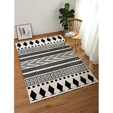 LEEVAN Moroccan Area Rug,Hand Woven Cotton Cream Chic Diamond Printed Tasels Rugs Door Mat,Indoor Floor Area Rugs Blanket Compatible Bedroom,Living Room,Children Playroom (2' x 4.3', Diamond-Black)