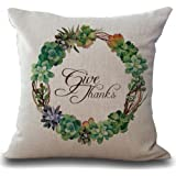 Personalized Give Thanks Thanksgiving Gifts Succulents Wreath Cotton Linen Throw Pillow Case Cushion Cover Home Office Living Room Sofa Car Decorative Square 18 X 18 Inches
