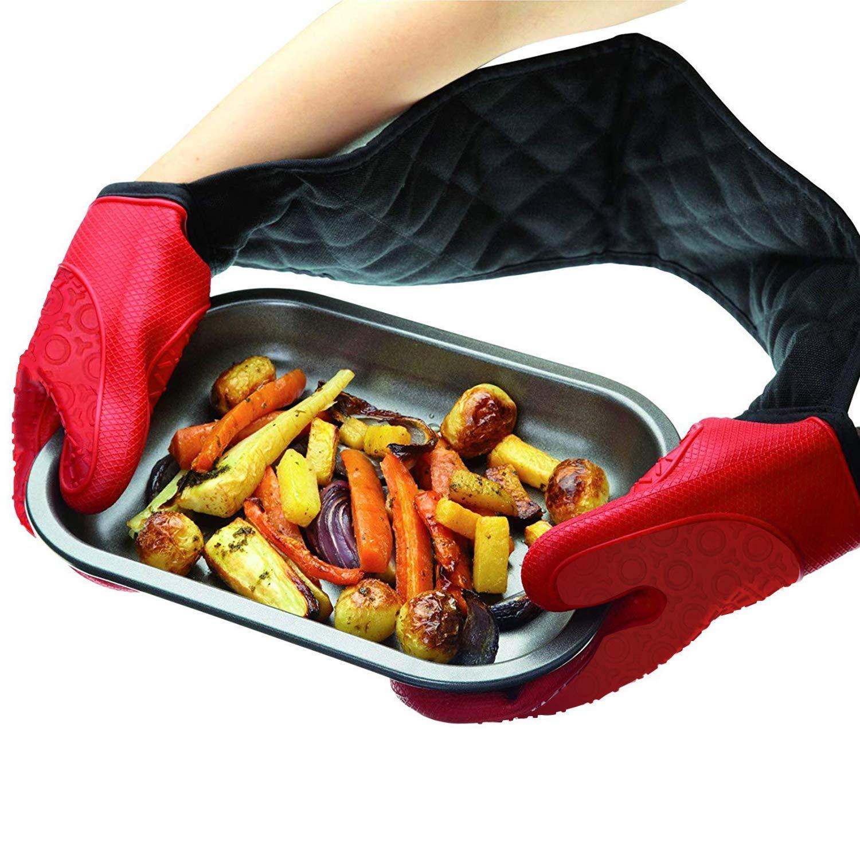 Hornear cocinar Guantes Dobles para Horno Mangguo microondas Antideslizantes cocinar Rojo Extra Largos Guantes de Horno de Silicona Pizza para Asar Resistentes al Calor