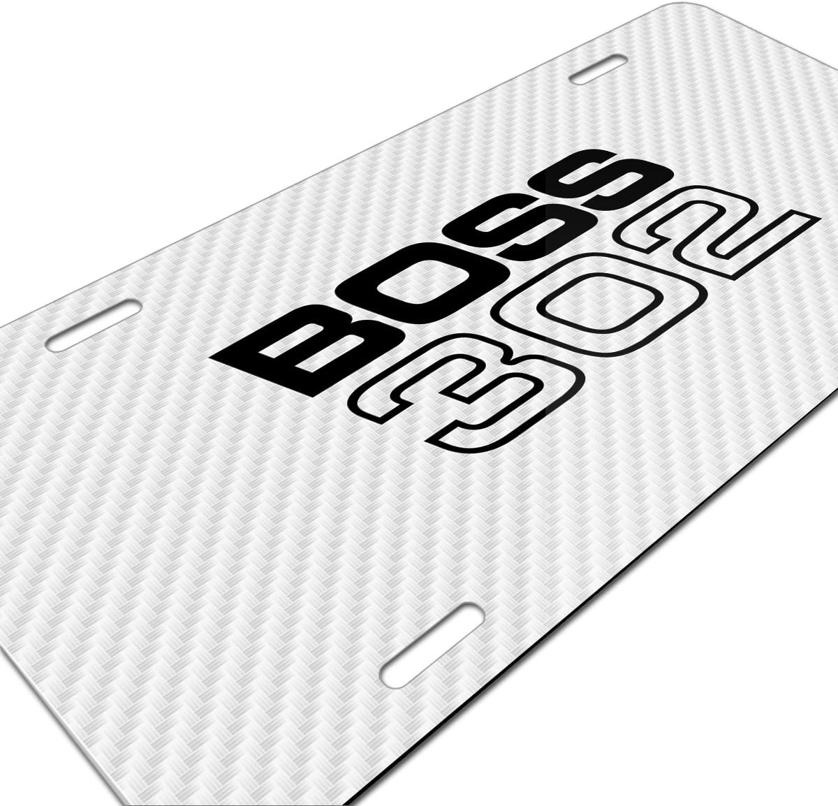 Made in USA Ford Mustang Boss 302 White Carbon Fiber Texture Graphic UV Metal License Plate
