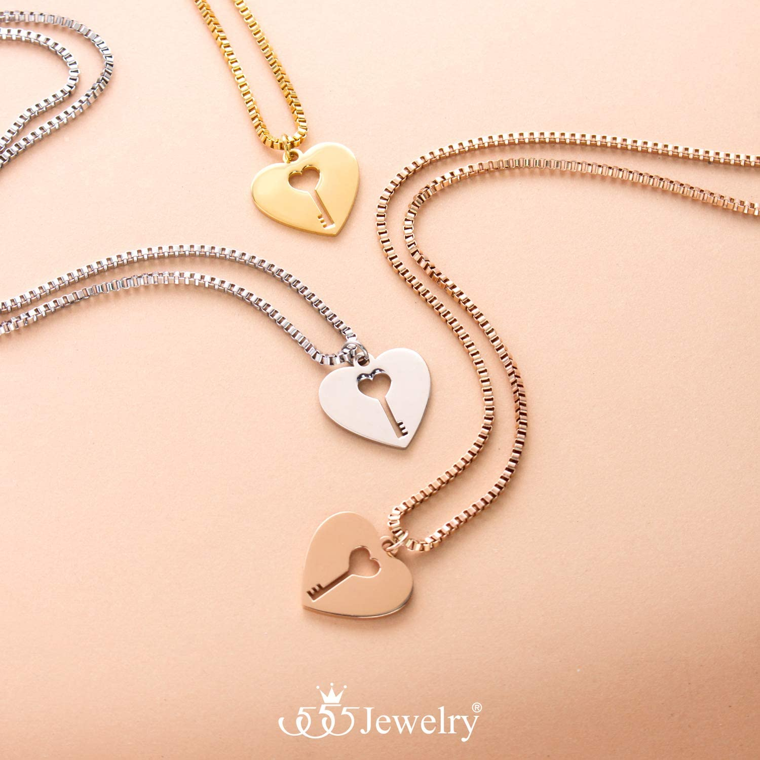 555Jewelry 2mm Delicate Rhodium Plated Brass Tiny Heart Necklace Chain for Women