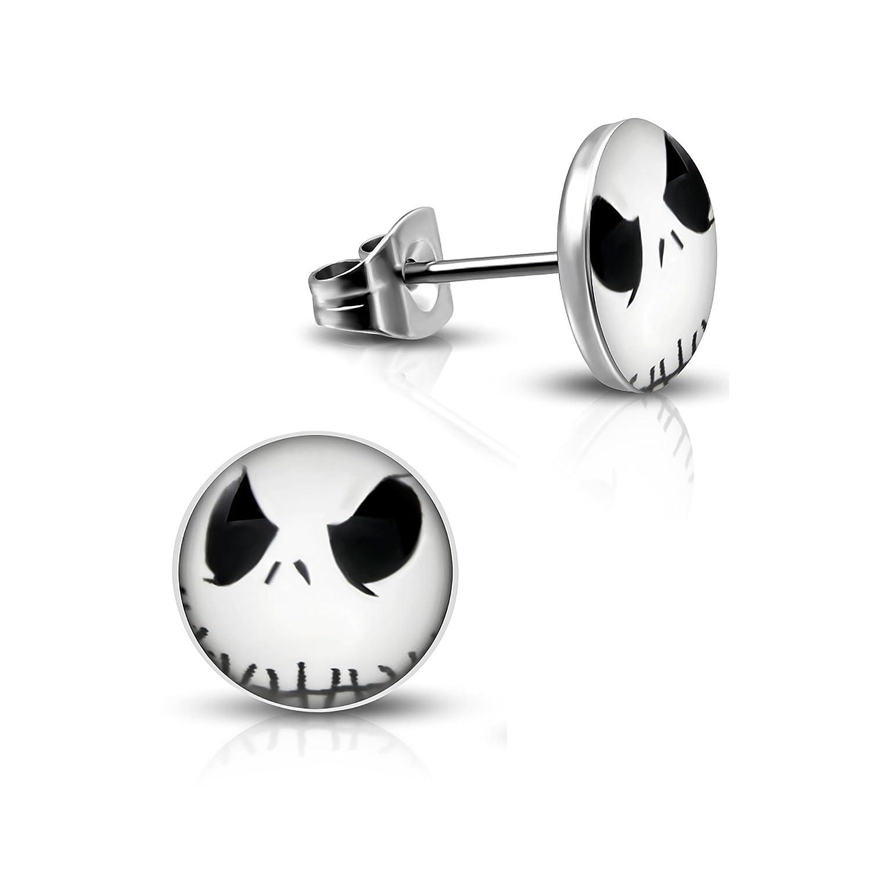 Pure316 Women's 7mm | Jack Skellington Halloween Mask Stud Earrings in 316L Stainless Steel - JK-LEB572 Leviev Ltd.