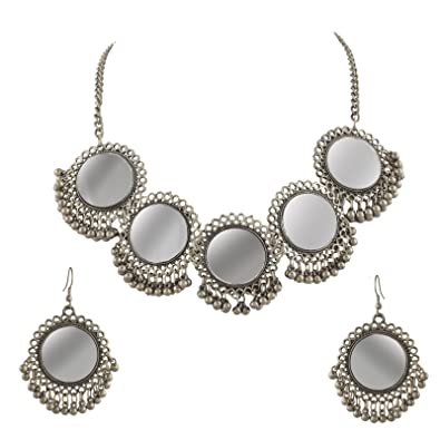 Buy zephyrr fashion afghani silver beaded pendant necklace earring buy zephyrr fashion afghani silver beaded pendant necklace earring set with mirrors for girls and women online at low prices in india amazon jewellery aloadofball Image collections