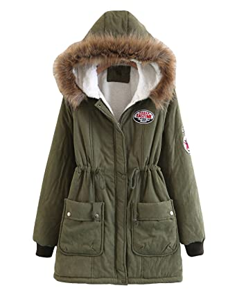 00aa300bb915 mewow Women's Winter Coat Mid-Long Warm Thick Soft Fleece Lined Jacket Faux  Fur Hood