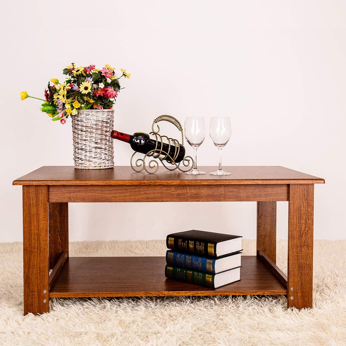 GRAFZEAL Coffee Table, Sofa Cocktail Table with Storage Shelf, TV Table Rectangular Sofa Table Office Table Wood Furniture for Living Room, Easy Assembly, Rustic Brown KFZ01X