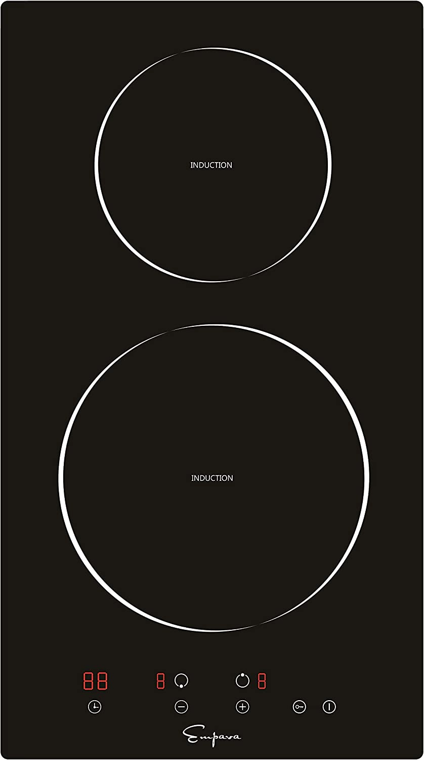 Empava 12 Inch Electric Induction Cooktop Smooth Surface with 2 Burners, 240V, Black