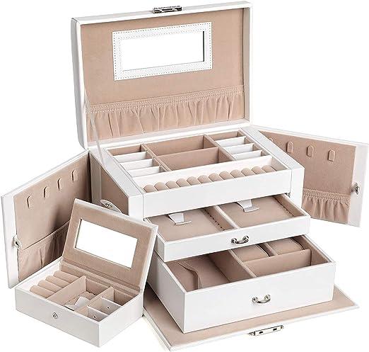 SONGMICS Boîte à bijoux, Coffret à bijoux avec 2 Tiroirs, Coffre à bijoux  verrouillable avec Miroir, Boîte de voyage portable, Doublure en velours,  ...