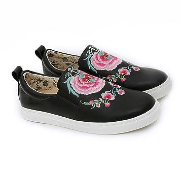 GDXH Mocasines de Mujer Zapatos de tacón Plano Estilo étnico Bordado de la Manera Zapatos de Flores Negro Zapatos Casuales de la Vendimia: Amazon.es: ...