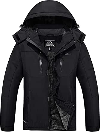 MAGCOMSEN Men's Winter Coats Water Resistant Ski Snow Jacket Warm Thicken Fleece Lined Jacket Parka with 5 Pockets