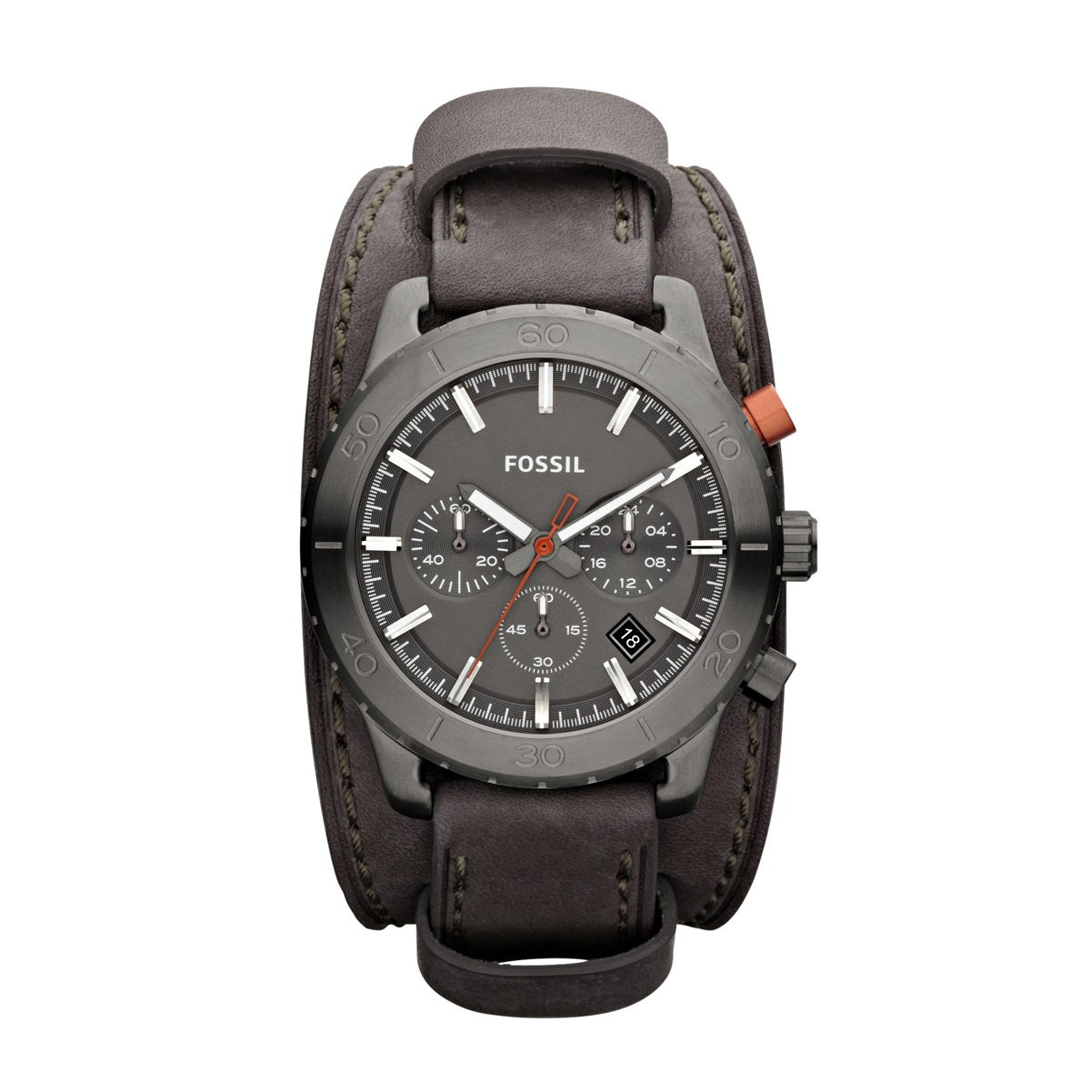Amazon.com: FOSSIL Keaton Chronograph Leather Watch Grey: Fossil: Watches