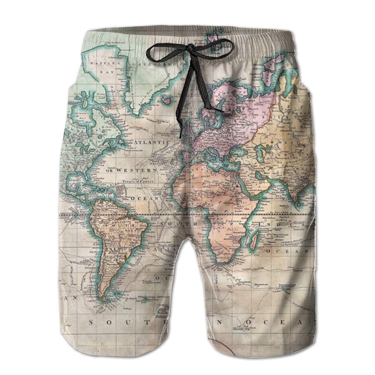 Vintage World Map Mens Beach Shorts Swim Trunks Casual Shorts Sports Shorts