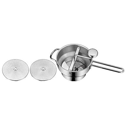 WMF – Pasapurés con 2 bandejas Gourmet, Acero Inoxidable, Transparente, 41 x 23.5 x 12.7 cm