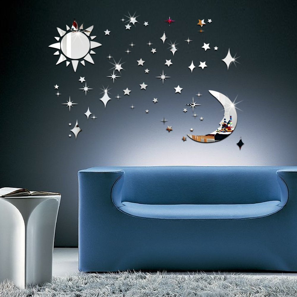 3D Wall Stickers Sun, Moon and Stars: 36PCS Mirror Effect Wall Stickers Decals For Children Room-Silver MiYan