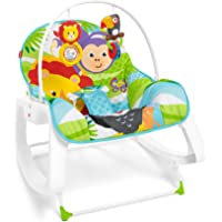 Fisher-Price GNV69 2-in-1 Baby Rocker with Soothing Vibrations and Toddler Rocker Seat - Up to 18 kg - Green