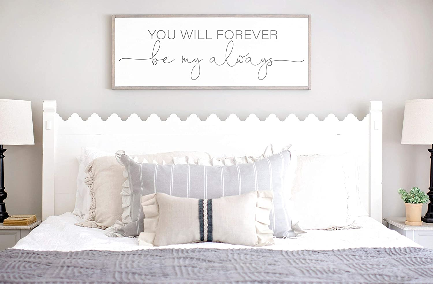 DASON Bedroom Wall Decor Sign for Above Bed You Will Forever be My Always Wood Sign Master Bedroom Wall Decor Above Bed Signs