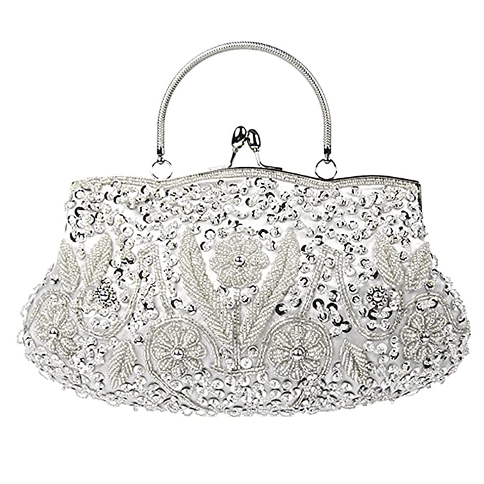 1920s Handbags, Purses, and Shopping Bag Styles Dreamys Beaded Evening Clutch Sequin Bag Metal Frame Kissing Lock Handbags Satin Interior Vintage Purse $22.99 AT vintagedancer.com